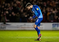 Lincoln City's goalkeeper Josh Vickers celebrates after his side take the lead<br /> <br /> Photographer Andrew Kearns/CameraSport<br /> <br /> The EFL Sky Bet League One - Lincoln City v Bolton Wanderers - Tuesday 14th January 2020  - LNER Stadium - Lincoln<br /> <br /> World Copyright © 2020 CameraSport. All rights reserved. 43 Linden Ave. Countesthorpe. Leicester. England. LE8 5PG - Tel: +44 (0) 116 277 4147 - admin@camerasport.com - www.camerasport.com
