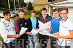 Zdenek Zupko, Killian Quirke, Bobby O'Keefe, Ian Griffin and Darragh Lynch and Darragh McGinley Leaving certificate students at Collaiste Gleann Li on Wednesday