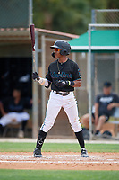 GCL Marlins Nasim Nunez (1) at bat during a Gulf Coast League game against the GCL Astros on August 8, 2019 at the Roger Dean Chevrolet Stadium Complex in Jupiter, Florida.  GCL Marlins defeated GCL Astros 5-4.  (Mike Janes/Four Seam Images)