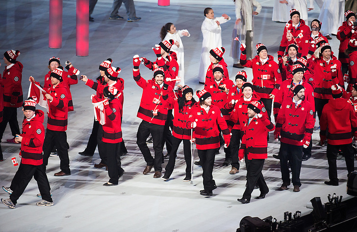 Sochi, RUSSIA - Mar 7 2014 -  Canada's Paralympic Team enters Fisht Stadium led by flag bearer Sonja Gaudet during the Opening Ceremonies of the Sochi 2014 Paralympic Winter Games in Sochi, Russia.  (Photo: Matthew Murnaghan/Canadian Paralympic Committee)