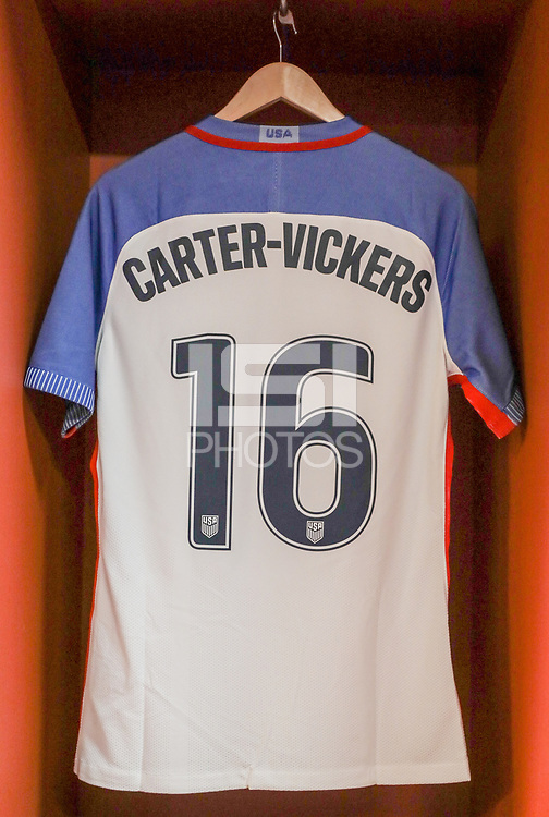 Leiria, Portugal - Tuesday November 14, 2017: Cameron Carter-Vickers during an International friendly match between the United States (USA) and Portugal (POR) at Estádio Dr. Magalhães Pessoa.