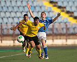 Alashkert FC v St Johnstone...02.07.15   Republican Stadium, Yerevan, Armenia....UEFA Europa League Qualifier.<br /> David Wotherspoon appeals for a foul against Ararat Arakelyan<br /> Picture by Graeme Hart.<br /> Copyright Perthshire Picture Agency<br /> Tel: 01738 623350  Mobile: 07990 594431