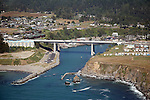 aerial view of Fort Bragg's new bridge over Noyo River