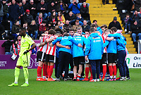 Lincoln City players in a huddle before extra time<br /> <br /> Photographer Andrew Vaughan/CameraSport<br /> <br /> Buildbase FA Trophy Semi Final Second Leg - Lincoln City v York City - Saturday 18th March 2017 - Sincil Bank - Lincoln<br />  <br /> World Copyright &copy; 2017 CameraSport. All rights reserved. 43 Linden Ave. Countesthorpe. Leicester. England. LE8 5PG - Tel: +44 (0) 116 277 4147 - admin@camerasport.com - www.camerasport.com