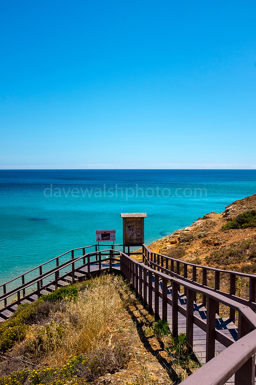 Stairs to the beach. The fishing and holiday village of Salema, Algarve, Portugal