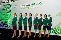 Milano, Aeroporto di Malpensa, presentazione del nuovo brand e nuova livrea degli aerei Alitalia. Hostess della compagnia aerea. 5 Giugno 2015.<br /> Milan, Malpensa Airport, Alitalia introduces its new brand, new livery and new products of the company. Airhostesses of the company. June 5, 2015.