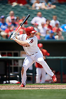 Memphis Redbirds left fielder Chad Huffman (12) at bat during a game against the Iowa Cubs on May 29, 2017 at AutoZone Park in Memphis, Tennessee.  Memphis defeated Iowa 6-5.  (Mike Janes/Four Seam Images)