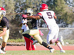 Palos Verdes, CA 10/27/17 - Andrew Tate (Morningside #5) and Ethan Han (Peninsula #8)in action during the Morningside Monarchs - Palos Verdes Peninsula Varsity football game at Peninsula High School.