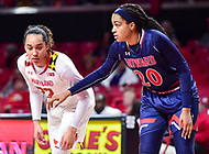College Park, MD - NOV 21, 2017: Maryland Terrapins guard Blair Watson (22) and Howard Bison center Jayla Myles (20) wait for a free throw a tempt during match up between the Howard Lady Bison and the Maryland Terrapins at the XFINITY Center in College Park, MD.  (Photo by Phil Peters/Media Images International)