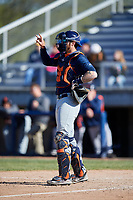 Bowling Green Hot Rods catcher Jonah Heim (6) signals to the defense during a game against the Beloit Snappers on May 7, 2017 at Pohlman Field in Beloit, Wisconsin.  Bowling Green defeated Beloit 6-2.  (Mike Janes/Four Seam Images)