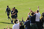 Faroe Islands 0 Scotland 2, 06/06/2007. European Championship Qualifier. Scotland fans celebrating as Garry O'Conner is congratulated by teammates on scoring the second goal as the Faroe Islands take on Scotland in a Euro 2008 group B qualifying match at the Svangaskard stadium in Toftir. The visitors won the match by 2 goals to nil to stay in contention for a place at the European football championships which were to be held in Switzerland and Austria in the Summer of 2008. It was the first time Scotland had won in the Faroes, the previous two matches ended in draws. Photo by Colin McPherson.