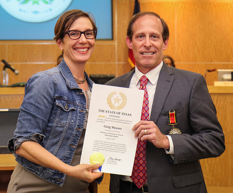 Houston ISD Trustee Anna Eastman recognizes former trustee Greg Meyers is during the Board of Trustees meeting, June 8, 2017.