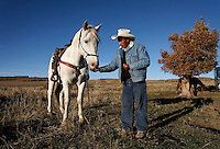 Dot, a tamed wild horse is loyal after fed by shepherd Edgar Oscanoa at his sheep camp.  He works trailing sheep in Upper Gully with the help of border collies and guard dogs. <br />
