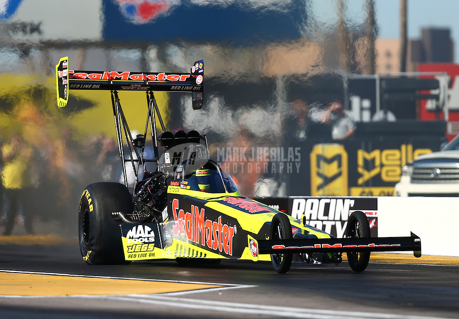 Feb 24, 2017; Chandler, AZ, USA; NHRA top fuel driver Troy Coughlin Jr during qualifying for the Arizona Nationals at Wild Horse Pass Motorsports Park. Mandatory Credit: Mark J. Rebilas-USA TODAY Sports