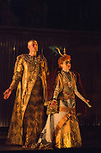London, UK. 2 March 2016. Zachary James as Scribe and Rebecca Bottone as Queen Tye. English National Opera (ENO) dress rehearsal of the Philip Glass opera Akhnaten at the London Coliseum. 7 performances from 4  to 18 March 2016. Directed by Phelim McDermott with Anthony Roth Costanzo as Akhnaten, Emma Carrington as Nefertiti, Rebecca Bottone as Queen Tye, James Cleverton as Horemhab, Clive Bayley as Aye, Colin Judson as High Priest of Amon and Zachary James as Scribe. Skills performances by Gandini Juggling.