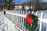 Christmas Wreaths Decorating the Village Fence in Rural Marlow, New Hampshire