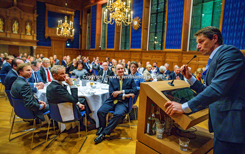 Den Bosch, The Netherlands, Februari 07 2019,  Maaspoort , FedCup  Netherlands - Canada, official dinner, Dutch captain Paul Haarhuis<br /> Photo: Tennisimages/Henk Koster