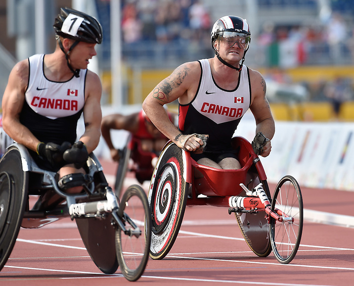 Toronto, ON - Aug 14 2015 - Alex Dupont, and Joshua Cassidy compete in the Men's 1500m T54 Final in the CIBC Athletics Stadium during the Toronto 2015 Parapan American Games  (Photo: Matthew Murnaghan/Canadian Paralympic Committee)