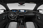 Stock photo of straight dashboard view of 2020 Peugeot e-208 GT 5 Door Hatchback Dashboard