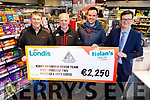Kerry Mountain Rescue received the sum of €2,250 from Nolan's Garage in Tralee on Monday morning, from the recent Row For Rescue fundraiser.<br /> L to r: Niall Nolan (Nolan's Garage), Michael Slattery and Jimmy Laide (Kerry Mountain Rescue) and Gerard Greaney.