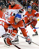 (Hodgson), Jan Eberle (Czech Republic - 24), John Tavares (Canada - 19), Radko Gudas (Czech Republic - 3) - Team Canada defeated the Czech Republic 8-1 on the evening of Friday, December 26, 2008, at Scotiabank Place in Kanata (Ottawa), Ontario during the 2009 World Juniors U20 Championship.