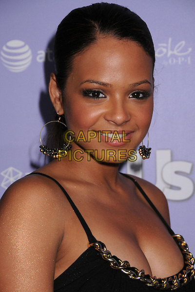 CHRISTINA MILIAN.US Weekly's Hot Hollywood 2008 Party at Beso Restaurant, Hollywood, California, USA..April 17th, 2008.headshot portrait gold hoop earrings chain cleavage .CAP/ADM/BP.©Byron Purvis/AdMedia/Capital Pictures.