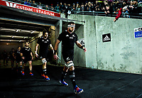 All Blacks captain Kieran Read leads his team out for the Rugby Championship rugby union match between the New Zealand All Blacks and South Africa Springboks at Westpac Stadium in Wellington, New Zealand on Saturday, 27 July 2019. Photo: Dave Lintott / lintottphoto.co.nz
