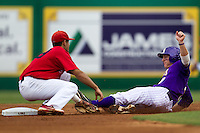 LSU Tigers outfielder Mason Katz #8 is tagged out at second base during the NCAA Super Regional baseball game against Stony Brook on June 9, 2012 at Alex Box Stadium in Baton Rouge, Louisiana. Stony Brook defeated LSU 3-1. (Andrew Woolley/Four Seam Images)