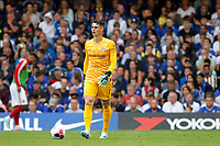 Kepa Arrizabalaga of Chelsea with the ball at his feet during the Premier League match between Chelsea and Sheff United at Stamford Bridge, London, England on 31 August 2019. Photo by Carlton Myrie / PRiME Media Images.