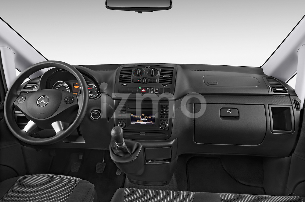 Stock photo of straight dashboard view of a 2013 Mercedes Benz Vito 113CDi SWB Long 4 Door Cargo Van 2WD Dashboard