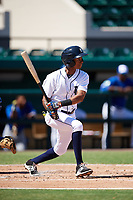 Detroit Tigers Sergio Alcantara (3) at bat during an Instructional League game against the Toronto Blue Jays on October 12, 2017 at Joker Marchant Stadium in Lakeland, Florida.  (Mike Janes/Four Seam Images)