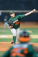 Miami Hurricanes starting pitcher Thomas Woodrey (43) delivers a pitch to the plate against the Wake Forest Demon Deacons at Wake Forest Baseball Park on March 20, 2015 in Winston-Salem, North Carolina.  The Hurricanes defeated the Demon Deacons 15-2.  (Brian Westerholt/Four Seam Images)