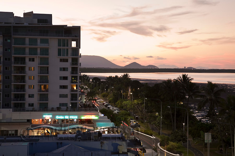 View along the Cairns Esplanade at dusk.  Cairns, Queensland, Australia