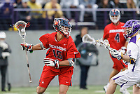 Mitch Savoca (#15) probes the Albany defense as UAlbany Men's Lacrosse defeats Richmond 18-9 on May 12 at Casey Stadium in the NCAA tournament first round.