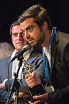 "Bellmore, New York, USA. July 21, 2016.  Winning Trailer is Italian film ""Giuliano's Web - La Teladi Giuliano"" from Bologna, Italy, by Director Allesandro Amanta, Producer Enrico Rondinelli, and Writers Giuliano Giunta, Enrico Rondinelli and Alessandro Amante, accepting the trophy at the 19th Annual Long Island International Film Expo Awards Ceremony, LIIFE 2016, held at the historic Bellmore Movies. A. LIIFE was called one of the 25 Coolest Film Festivals in the World by MovieMaker Magazine."