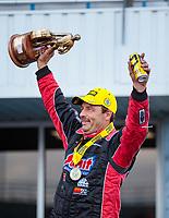 Oct 20, 2019; Ennis, TX, USA; NHRA pro stock driver Greg Anderson celebrates after winning the Fall Nationals at the Texas Motorplex. Mandatory Credit: Mark J. Rebilas-USA TODAY Sports