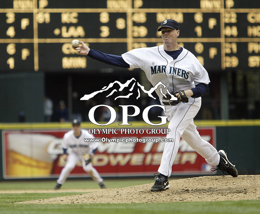 10 April 2005:Seattle set up man Jeff Nelson came in a pitched 1.1 inning of scoreless baseball against the Texas Rangers at Safeco field in Seattle, WA.