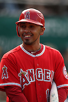 OAKLAND, CA - JULY 16:  Maicer Izturis of the Los Angeles Angels of Anaheim waits in the on deck circle against the Oakland Athletics during the game at the Oakland-Alameda County Coliseum on Saturday, July 16, 2011 in Oakland, California. Photo by Brad Mangin