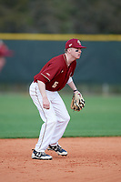 Boston College Eagles shortstop Brian Dempsey (6) during a game against the Minnesota Golden Gophers on February 23, 2018 at North Charlotte Regional Park in Port Charlotte, Florida.  Minnesota defeated Boston College 14-1.  (Mike Janes/Four Seam Images)