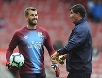 Burnley's Adam Legzdins and Goalkeeping Coach Billy Mercer during the pre-match warm-up <br /> <br /> Photographer Kevin Barnes/CameraSport<br /> <br /> The Premier League - Southampton v Burnley - Sunday August 12th 2018 - St Mary's Stadium - Southampton<br /> <br /> World Copyright &copy; 2018 CameraSport. All rights reserved. 43 Linden Ave. Countesthorpe. Leicester. England. LE8 5PG - Tel: +44 (0) 116 277 4147 - admin@camerasport.com - www.camerasport.com