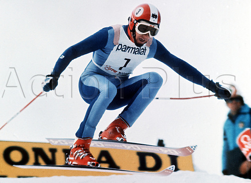 1975 Madonna die Campiglio, Italy. Franz Klammer (AUT) in action during the world cup downhill race