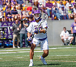 Ron John (#33) passes the ball as UAlbany Lacrosse defeats Vermont 14-4  in the American East Conference Championship game at Casey Stadium, May 5.