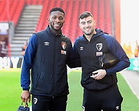 Jefferson Lerma of AFC Bournemouth left and Diego Rico of AFC Bournemouth arrive at the ground during AFC Bournemouth vs Wolverhampton Wanderers, Premier League Football at the Vitality Stadium on 23rd February 2019