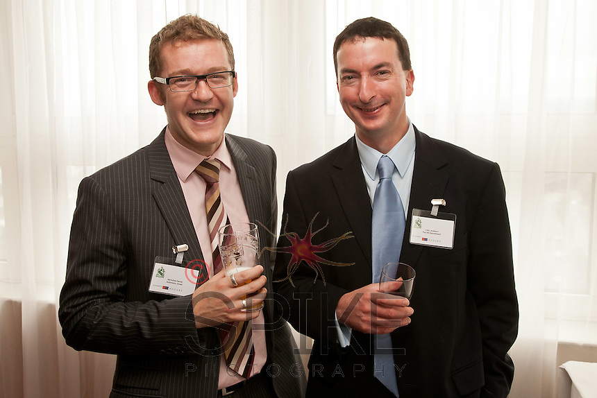 Nicolas Ferrar of Adamson Jones (left)enjoys a smile with John Jenkison of the HR Department