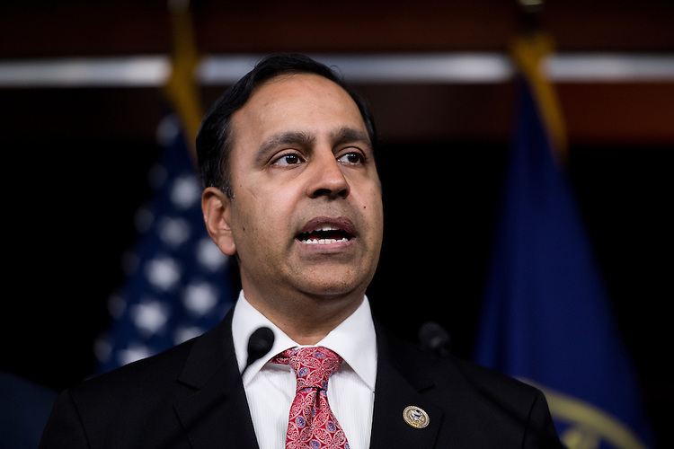 UNITED STATES - FEBRUARY 28: Rep. Raja Krishnamoorthi, D-Ill., speaks during the House Democrats' news conference in advance of President Trump's address to Congress on Tuesday, Feb. 28, 2017. (Photo By Bill Clark/CQ Roll Call)