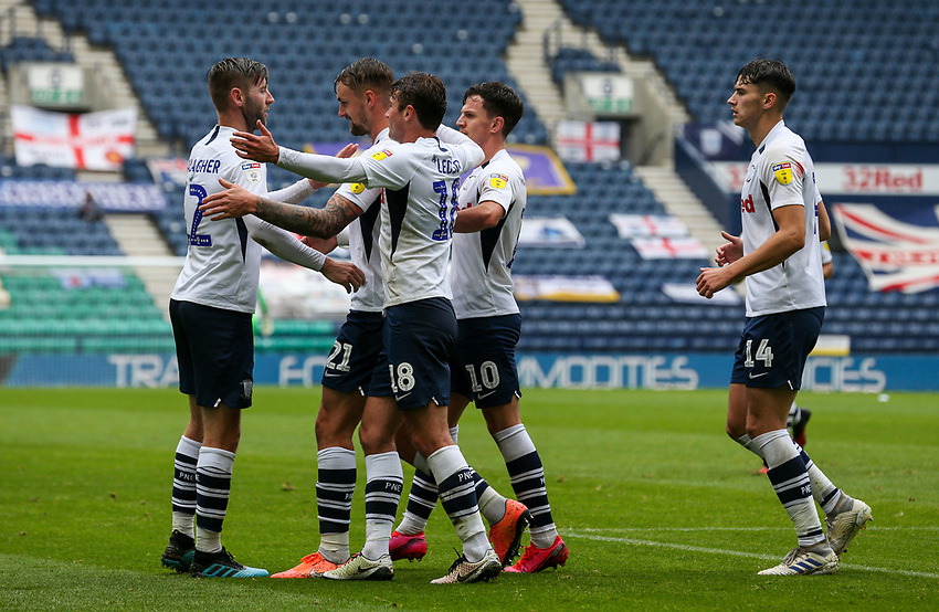 Preston North End's Patrick Bauer celebrates scoring the opening goal <br /> <br /> Photographer Alex Dodd/CameraSport<br /> <br /> The EFL Sky Bet Championship - Leeds United v Barnsley - Thursday 16th July 2020 - Elland Road - Leeds<br /> <br /> World Copyright © 2020 CameraSport. All rights reserved. 43 Linden Ave. Countesthorpe. Leicester. England. LE8 5PG - Tel: +44 (0) 116 277 4147 - admin@camerasport.com - www.camerasport.com<br /> <br /> Photographer Alex Dodd/CameraSport<br /> <br /> The EFL Sky Bet Championship - Preston North End v Birmingham City - Saturday 18th July 2020 - Deepdale Stadium - Preston<br /> <br /> World Copyright © 2020 CameraSport. All rights reserved. 43 Linden Ave. Countesthorpe. Leicester. England. LE8 5PG - Tel: +44 (0) 116 277 4147 - admin@camerasport.com - www.camerasport.com