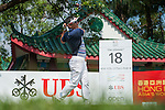 Unho Park from Australia hits the ball during Hong Kong Open golf tournament at the Fanling golf course on 22 October 2015 in Hong Kong, China. Photo by Xaume Olleros / Power Sport Images