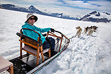 ALASKA, Juneau, dogs pull sleds and participants across the Juneau Ice Field, Helicopter Dogsled Tour flies you over the Taku Glacier to the HeliMush dog camp at Guardian Mountain above the Taku Glacier