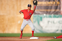 Williamsport Crosscutters second baseman Jose Antequera (2) stretches for a throw during a game against the Auburn Doubledays on June 25, 2016 at Falcon Park in Auburn, New York.  Auburn defeated Williamsport 5-4.  (Mike Janes/Four Seam Images)