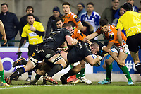 Tom Dunn of Bath Rugby scores his team's opening try. European Rugby Champions Cup match, between Benetton Rugby and Bath Rugby on January 20, 2018 at the Municipal Stadium of Monigo in Treviso, Italy. Photo by: Patrick Khachfe / Onside Images